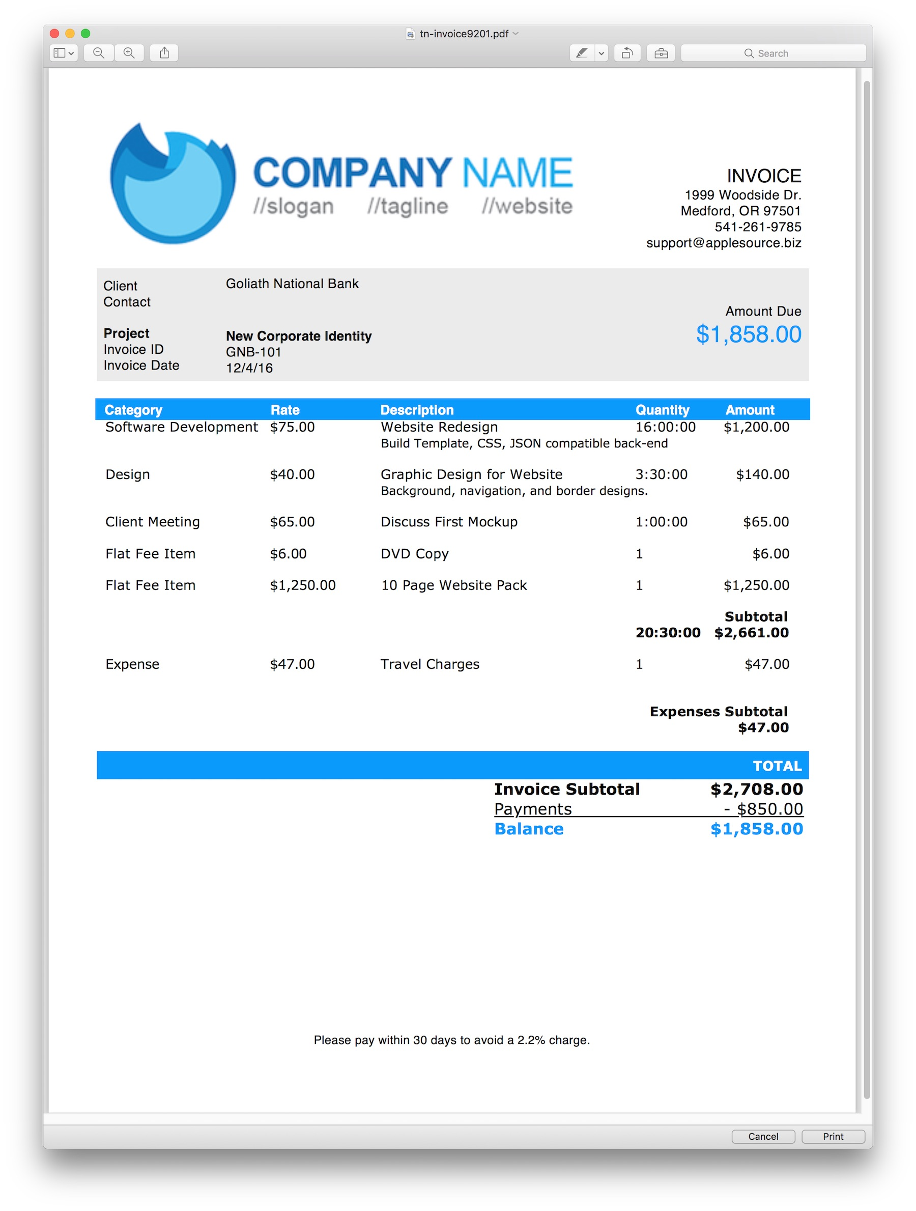 AppleSource Software TimeNet Invoice Templates Time Tracking - Template for invoicing