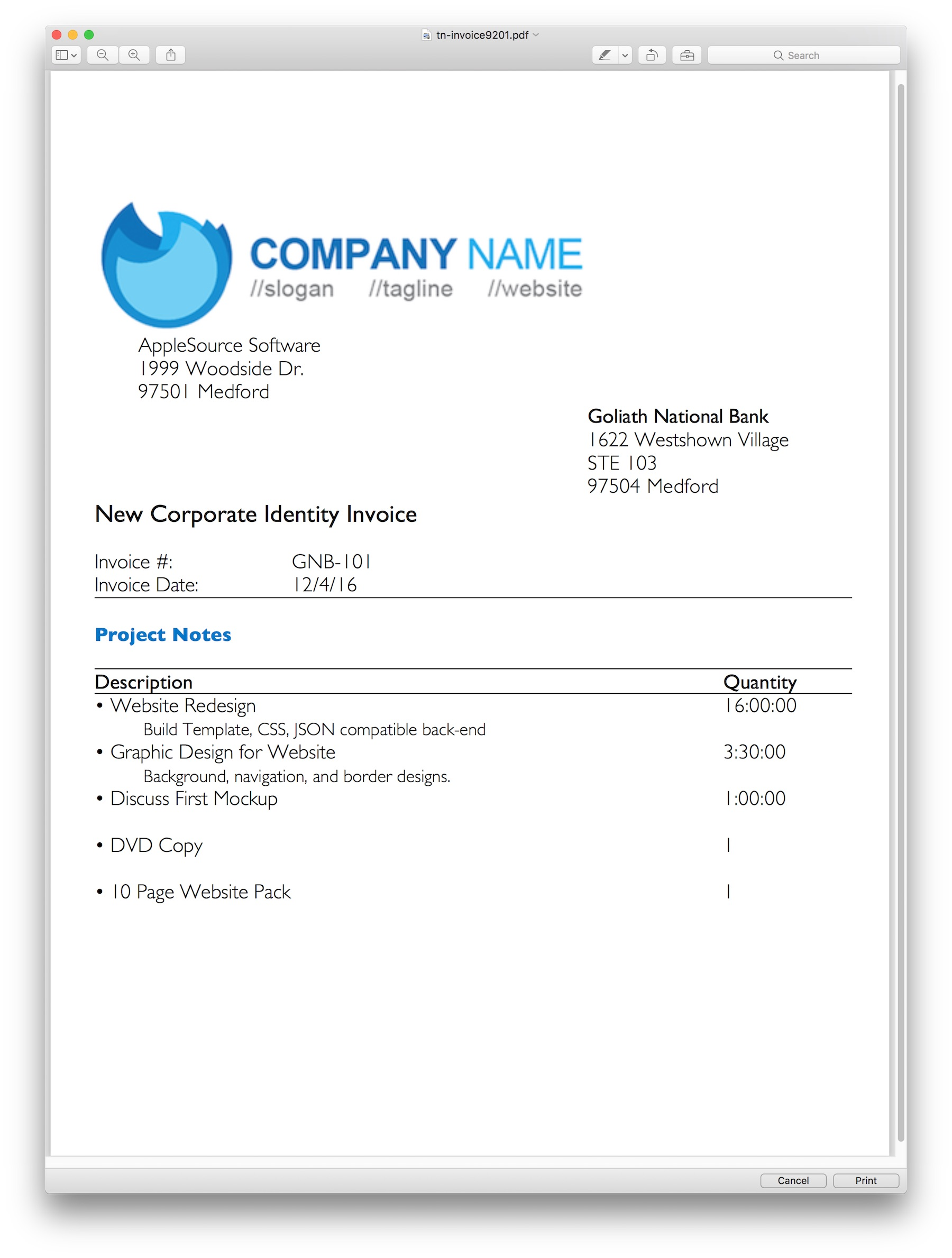 AppleSource Software TimeNet Invoice Templates Time Tracking - Css invoice template