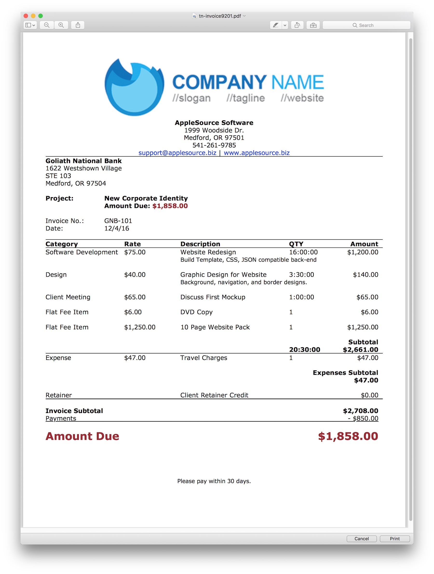 AppleSource Software TimeNet Invoice Templates Time Tracking - Elegant invoice template