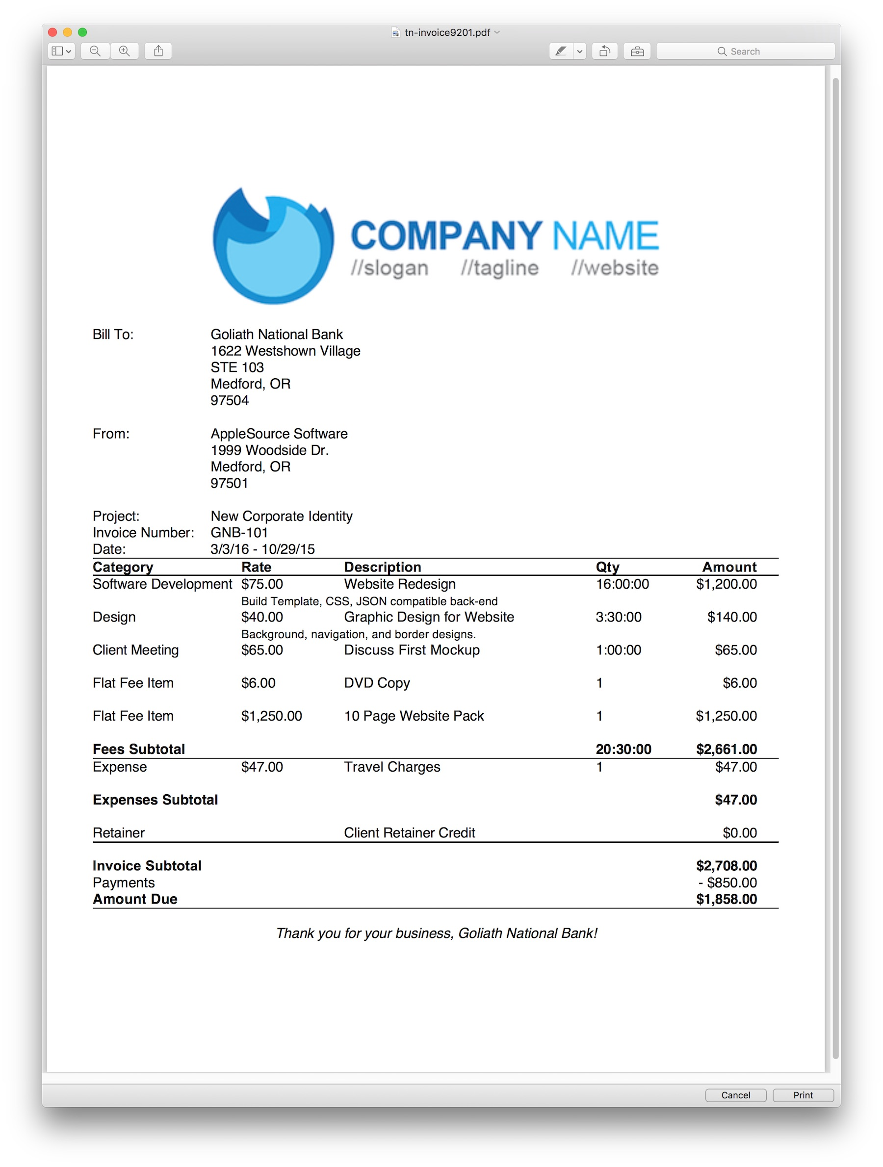 text invoice template