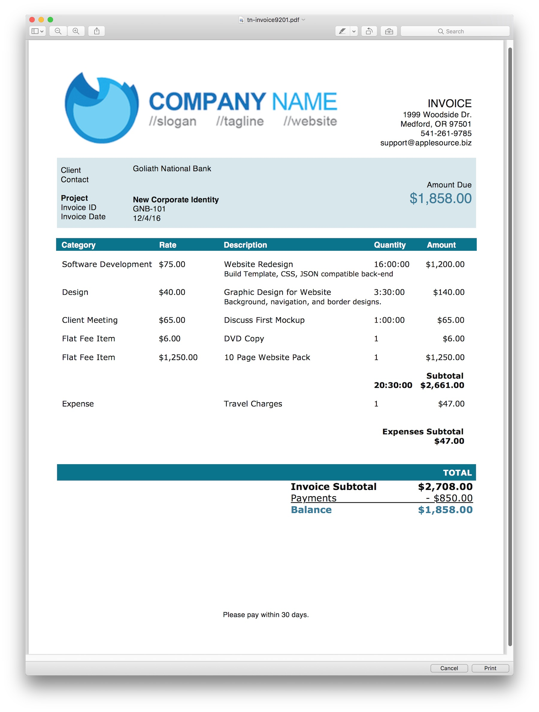 applesource software > timenet invoice templates time tracking green blocks invoice template