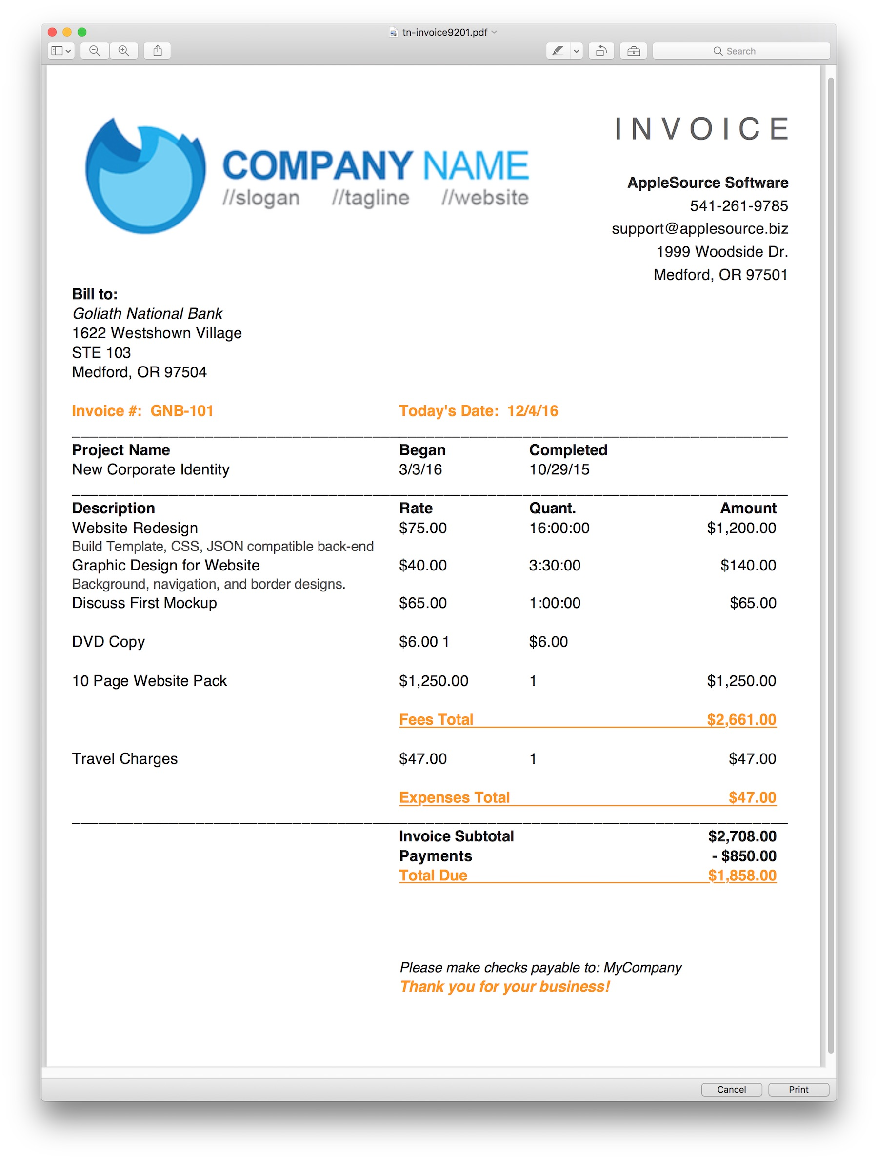 applesource software  u0026gt  timenet invoice templates