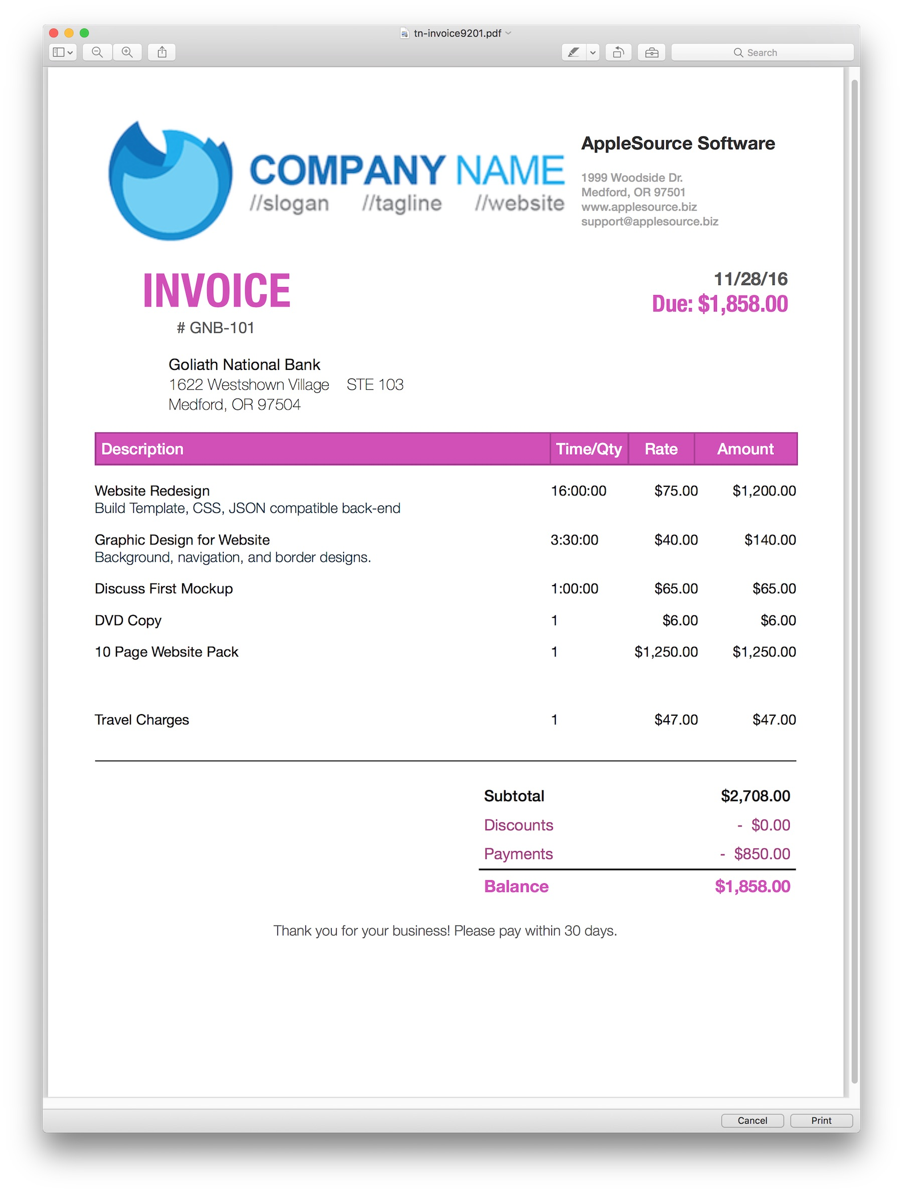 AppleSource Software TimeNet Invoice Templates Time Tracking - Invoicing templates