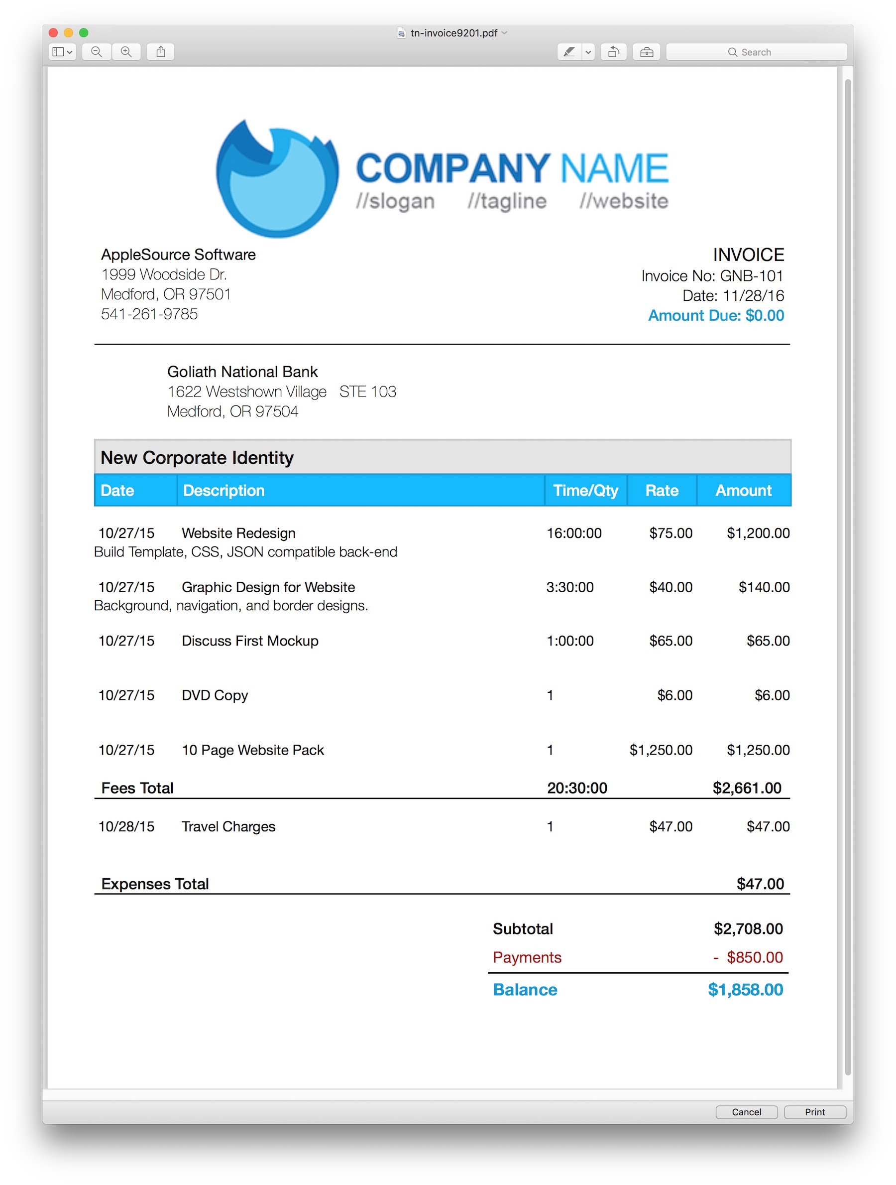AppleSource Software TimeNet Invoice Templates Time Tracking - Image of invoice template
