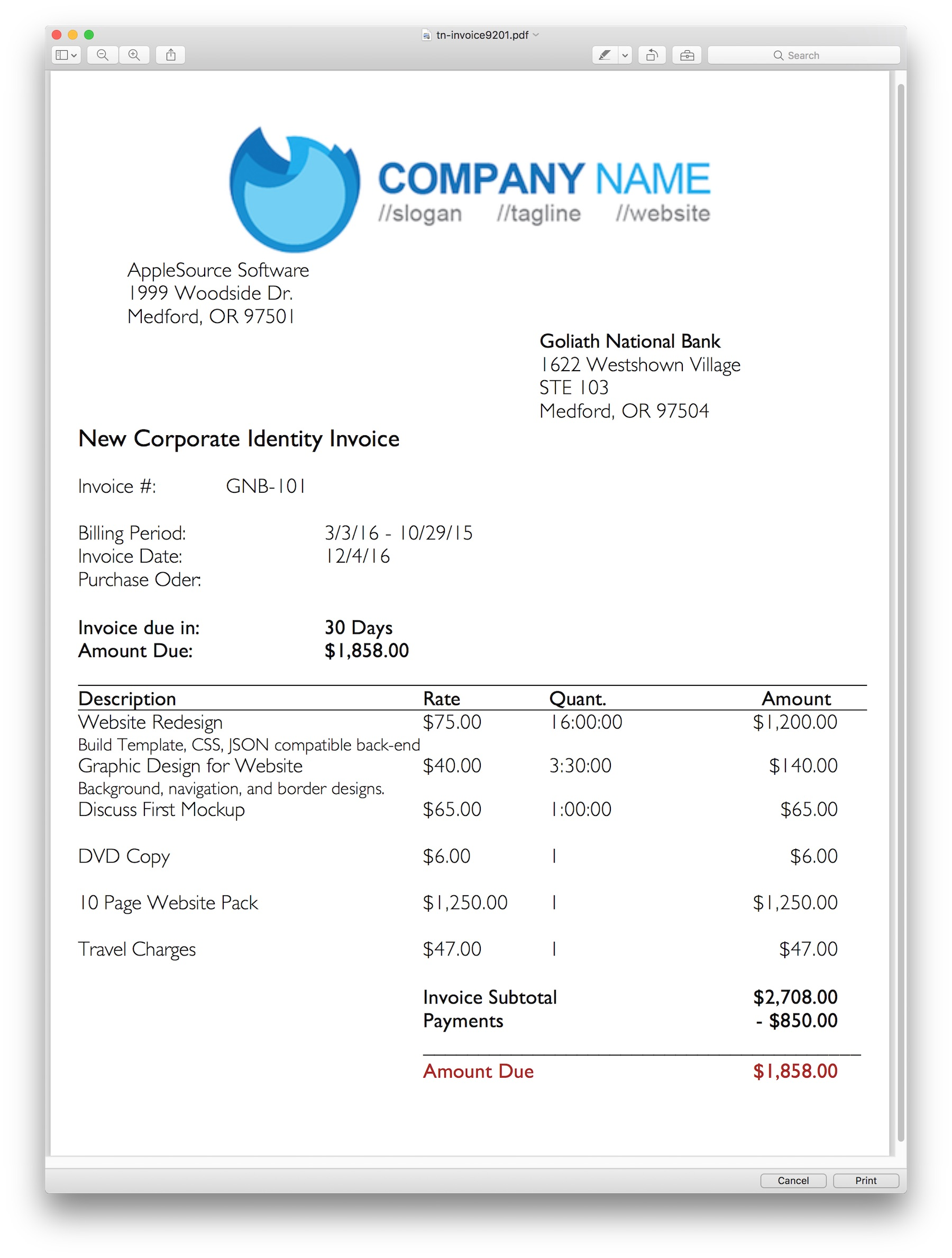 AppleSource Software TimeNet Invoice Templates Time Tracking – Professional Invoice Template